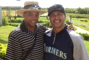 Tito pictured here with Jose Moreno, Director of Latin America Baseball Operations, Seattle Mariners